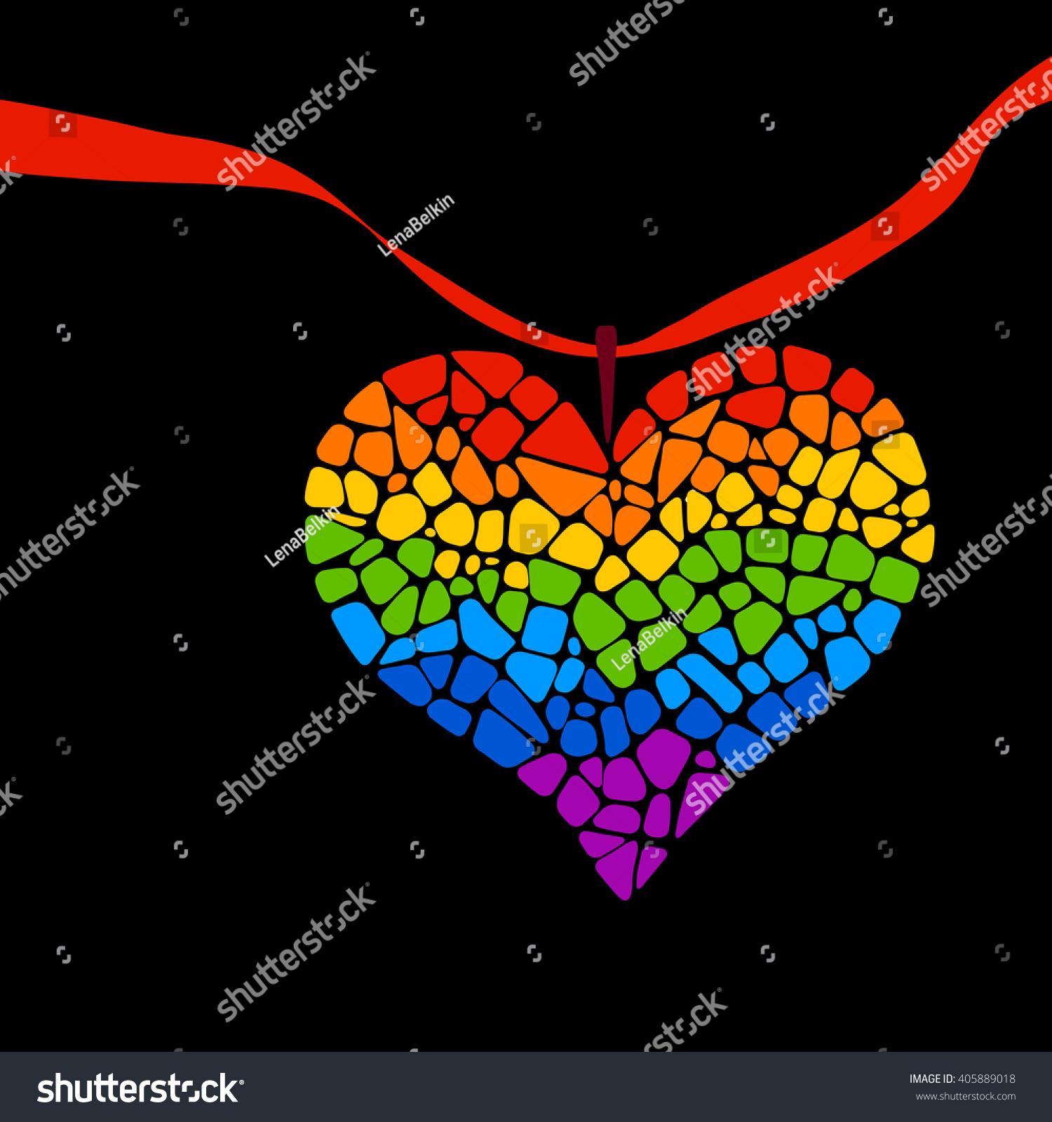 Mosaic rainbow heart ribbon on black stock vector 405889018 mosaic rainbow heart with a ribbon on black background lgbt logo and symbol gay kristyandbryce Gallery
