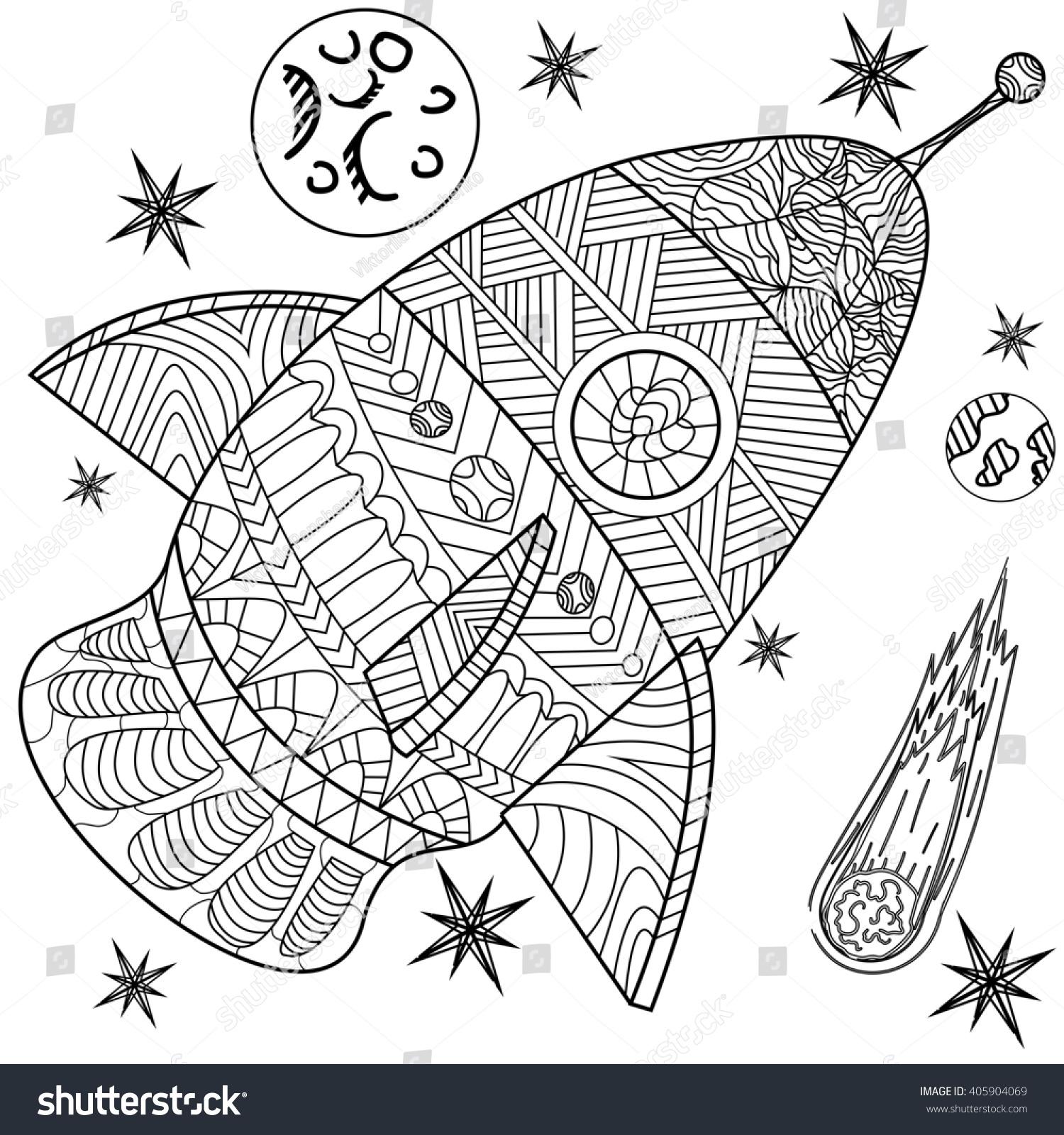 Space Coloring Book Line Art Design Stock Illustration 405904069 ...