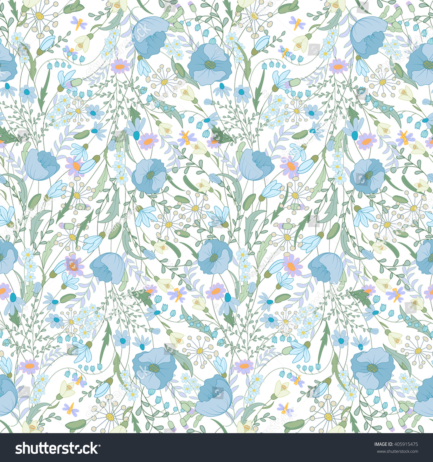 Romantic vector seamless background greeting card wallpaper vector art - Blue Spring Flowers Seamless Pattern Endless Print For Romantic Design Decoration Greeting Cards