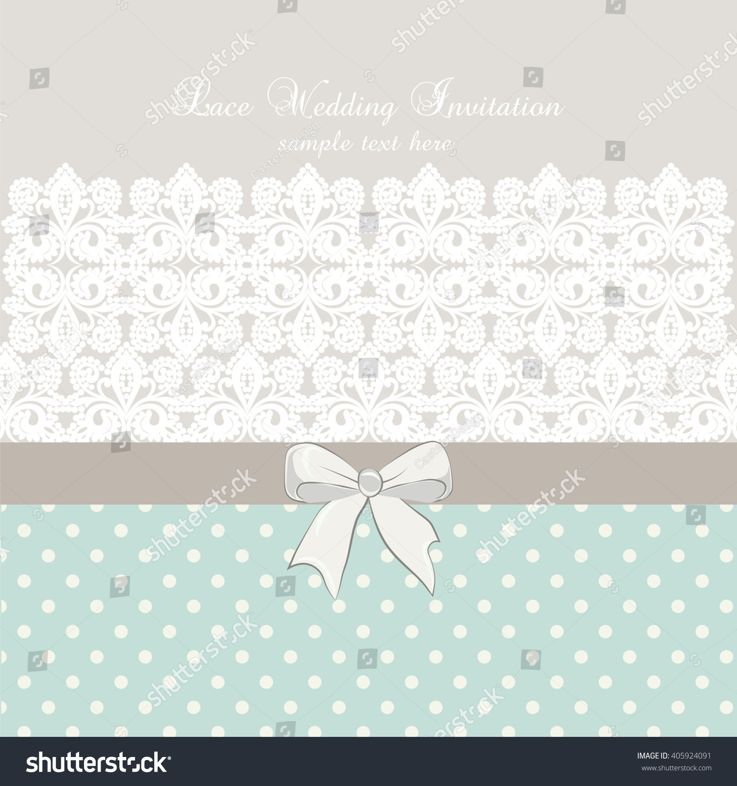 Crochet Wedding Invitations: Vector Lace Crochet Card Bow Retro Stock Vector 405924091