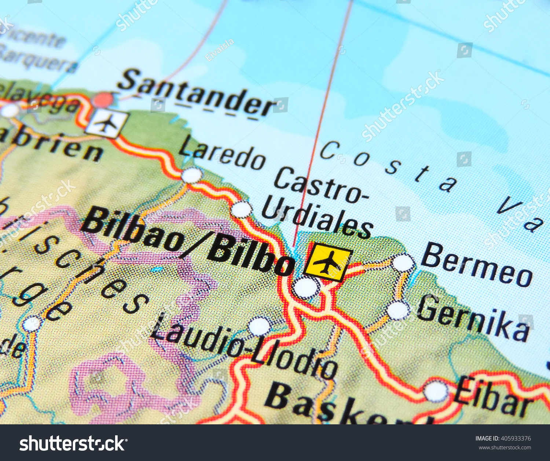 Map Of Spain Eibar.Map Spain Focus On Bilbao Stock Photo Edit Now 405933376