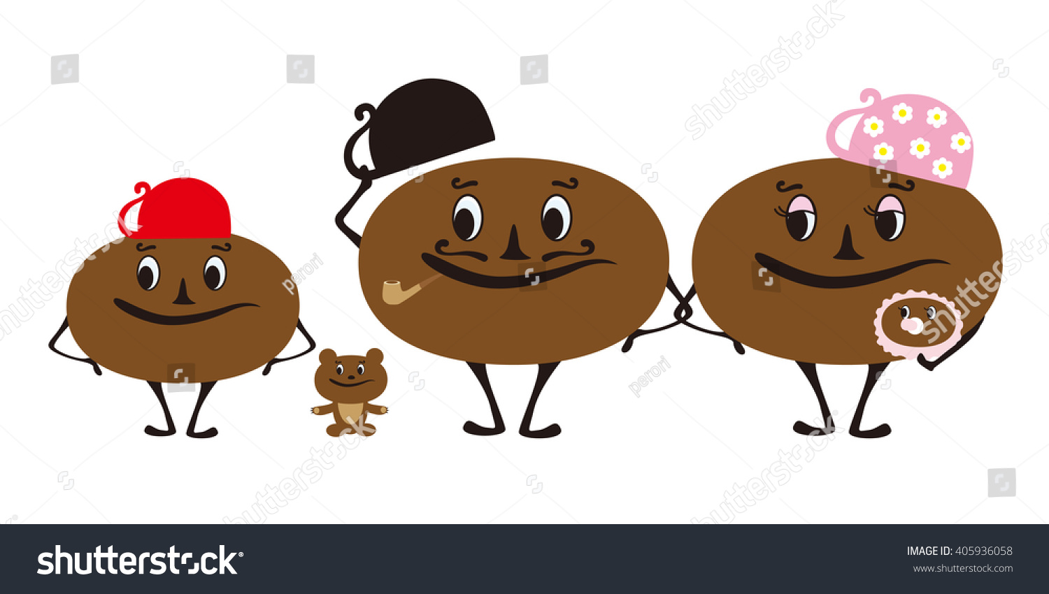 Vector Illustration Of Coffee Bean Family Character