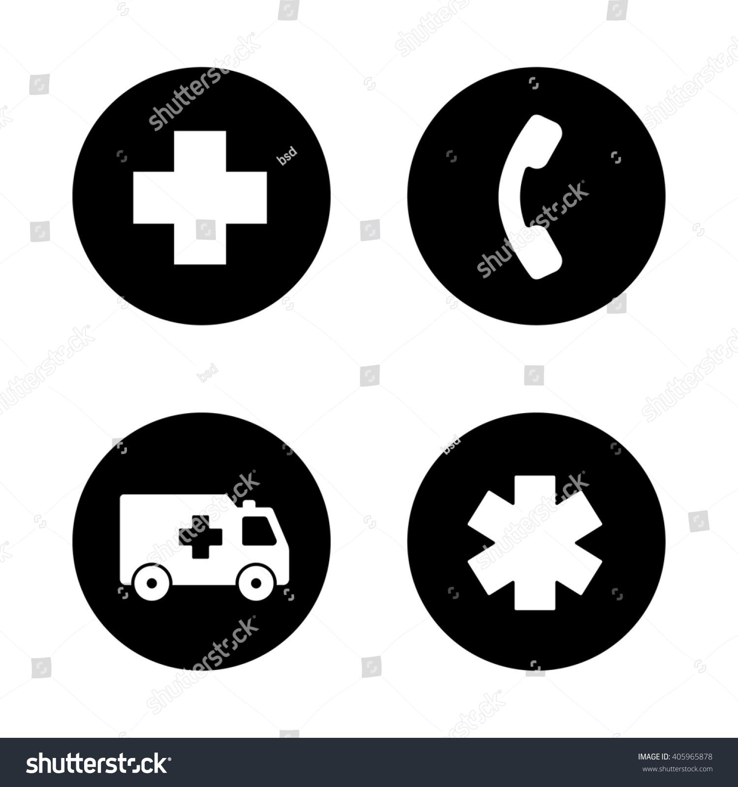 Ambulance Black Icons Set Hospital Cross Stock Illustration