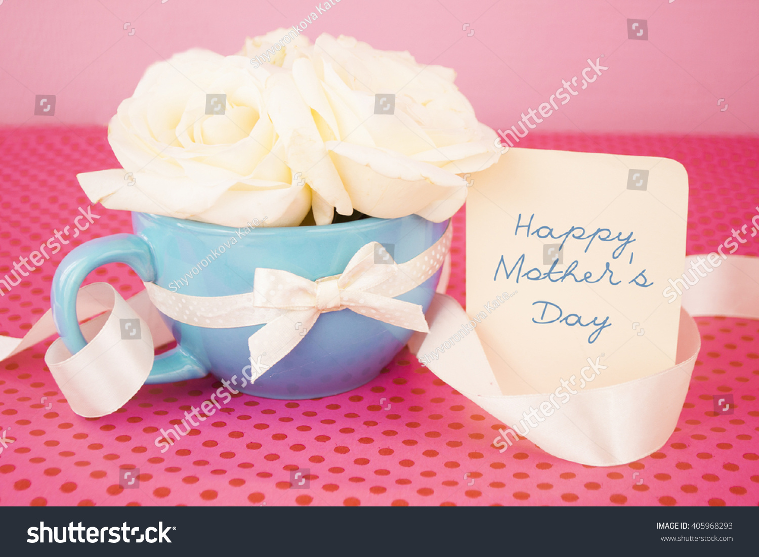 Mothers Day Card Roses Cup On Stock Photo (Royalty Free) 405968293 ...