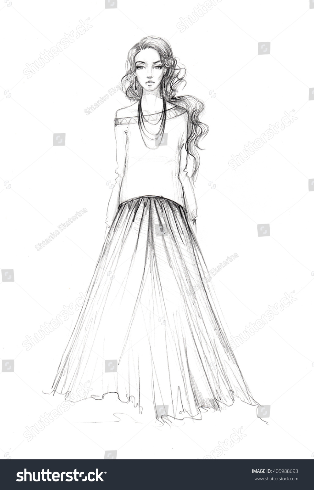 Easy Fashion Sketch Stock Illustration 405988693