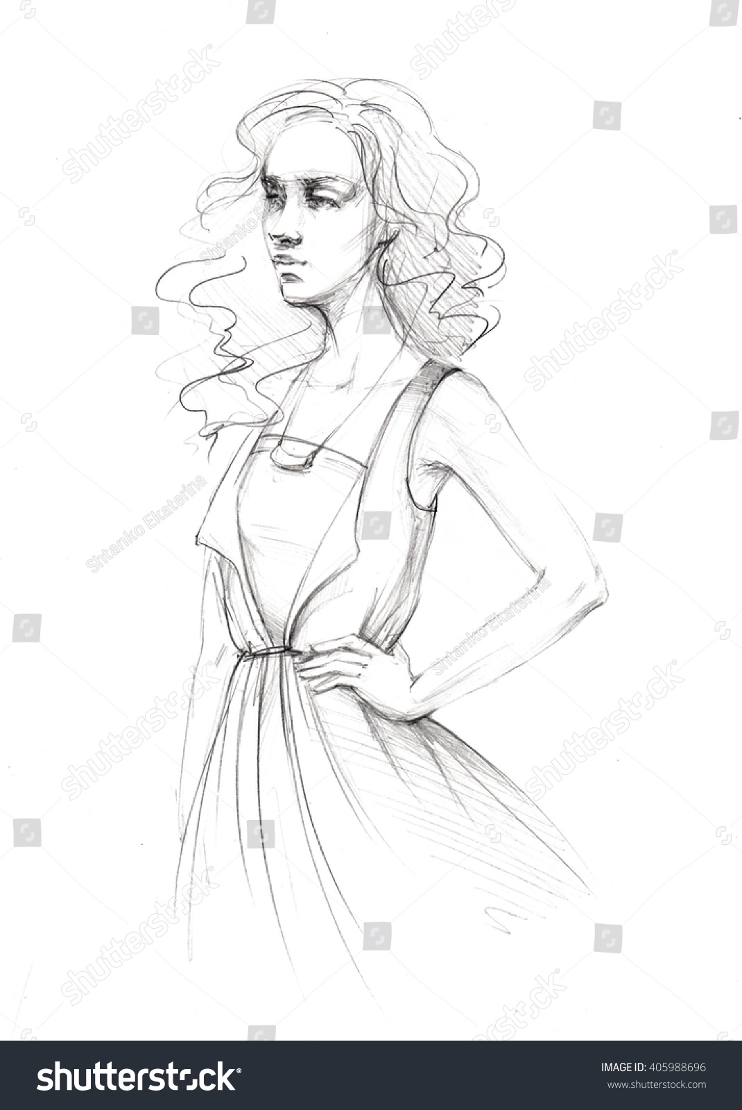 Pencil sketch line of womens clothing dress sketch fashion illustration