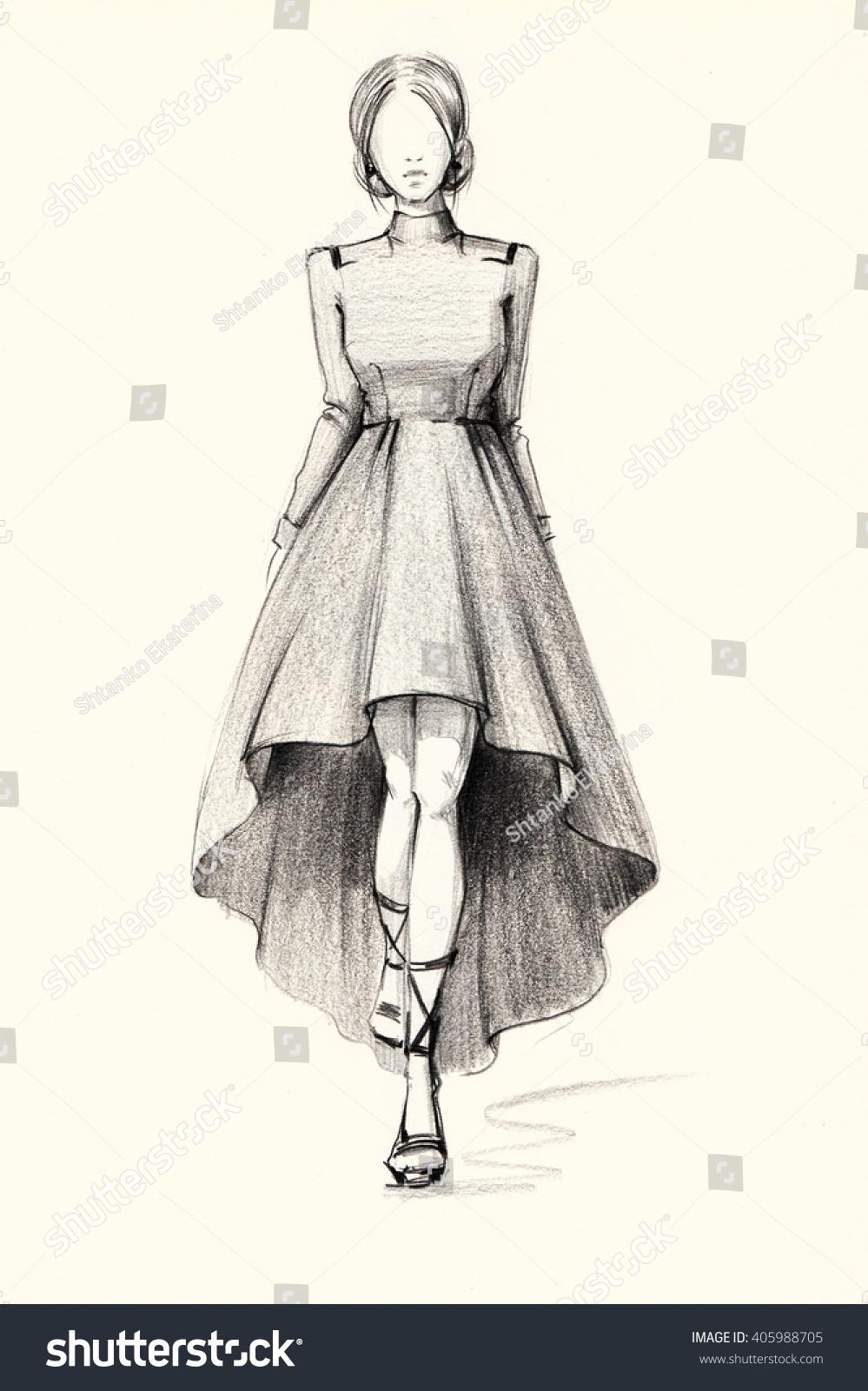 Fashion illustration of a stylish image sketch dress pencil drawing graphic arts