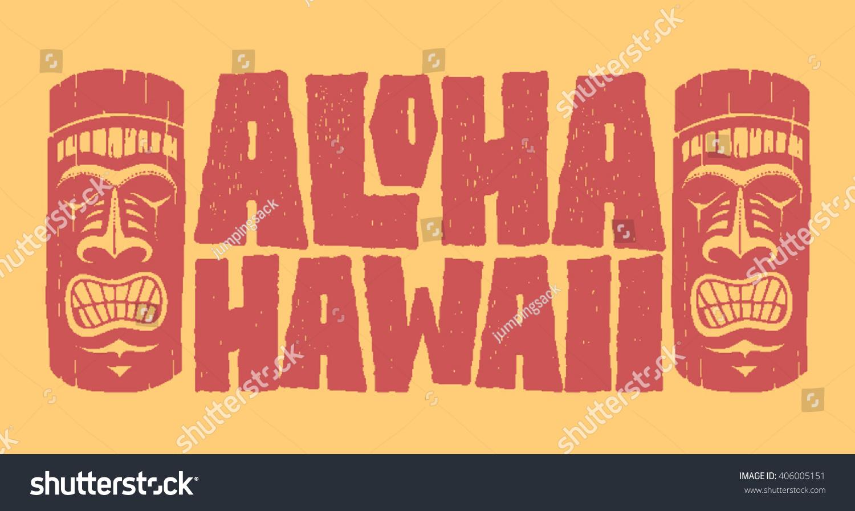T shirt design hawaii - Aloha Hawaii Hand Lettering With Tiki Mask Typography T Shirt Design