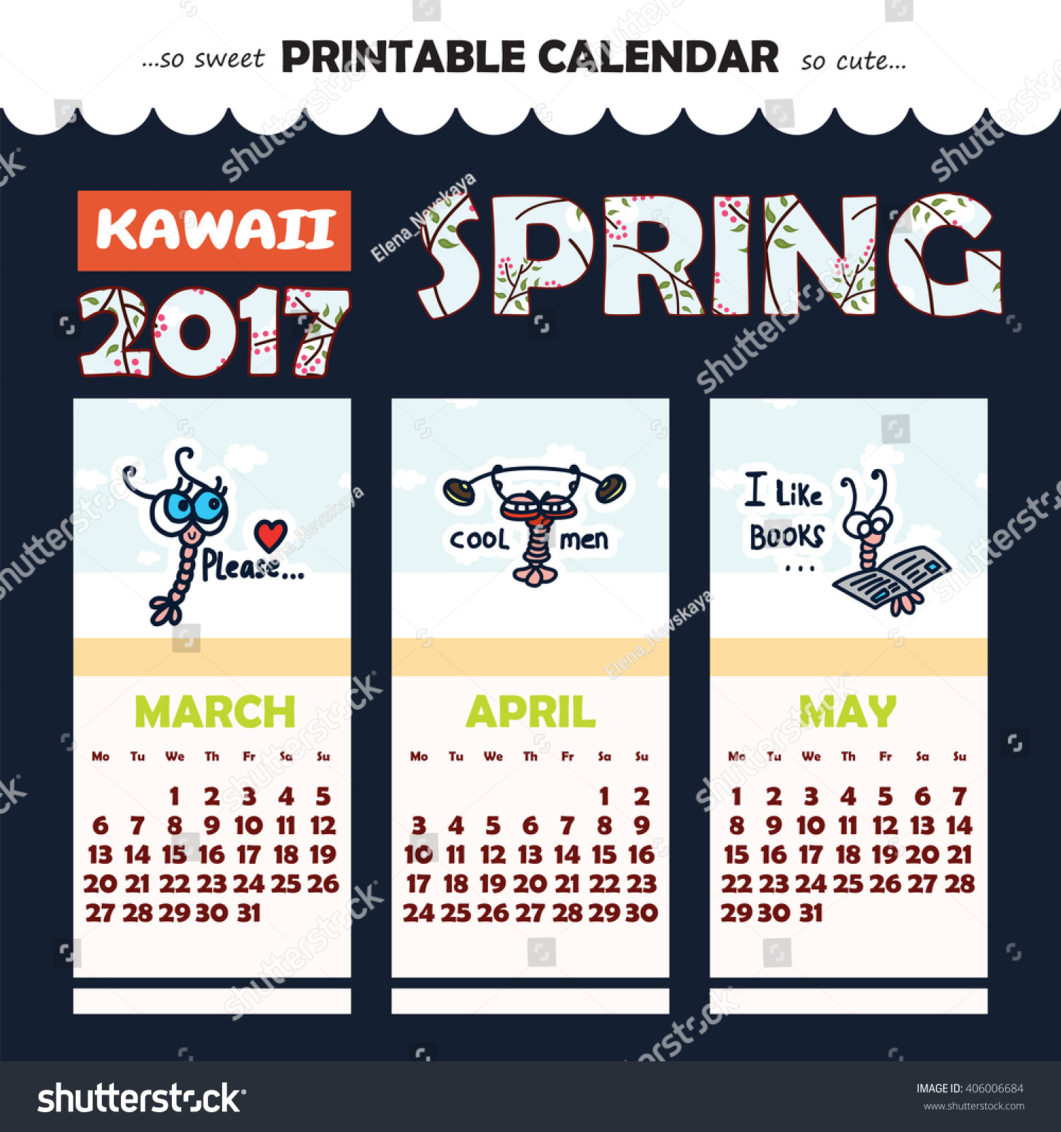 Calendar Month Illustration : Monthly pinup calendar year kawaii stock vector