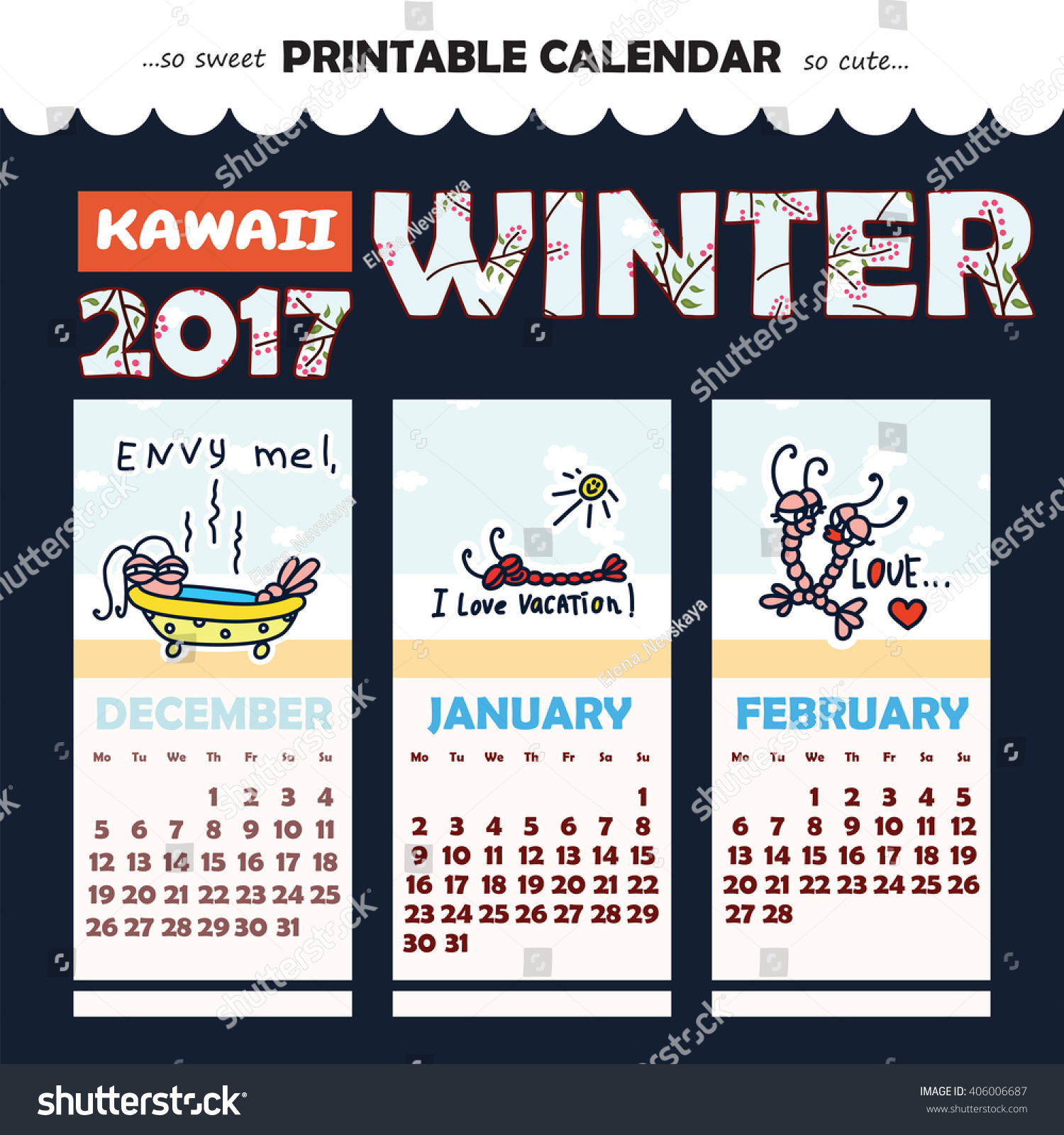 December 2016 January 2017 Kitchen Of The Month: Monthly Pinup Calendar 2017 Year Kawaii Stock Vector