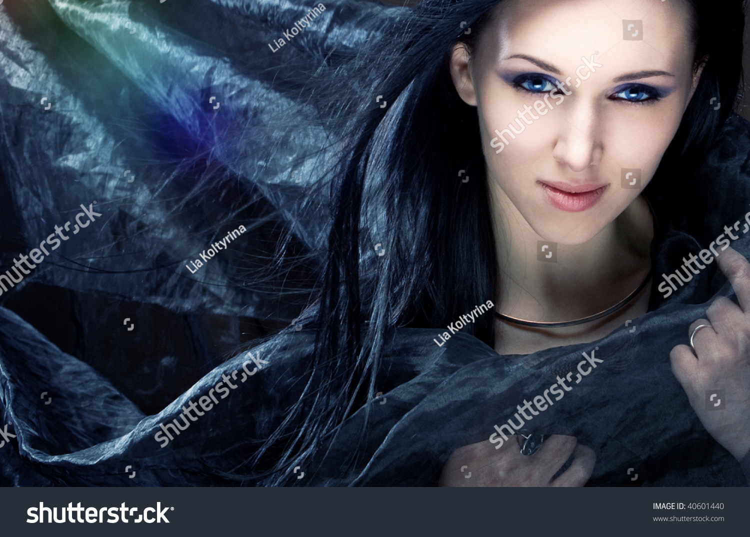 Young Beautiful Girl Black Hair Blue Stock Photo 40601440 ...