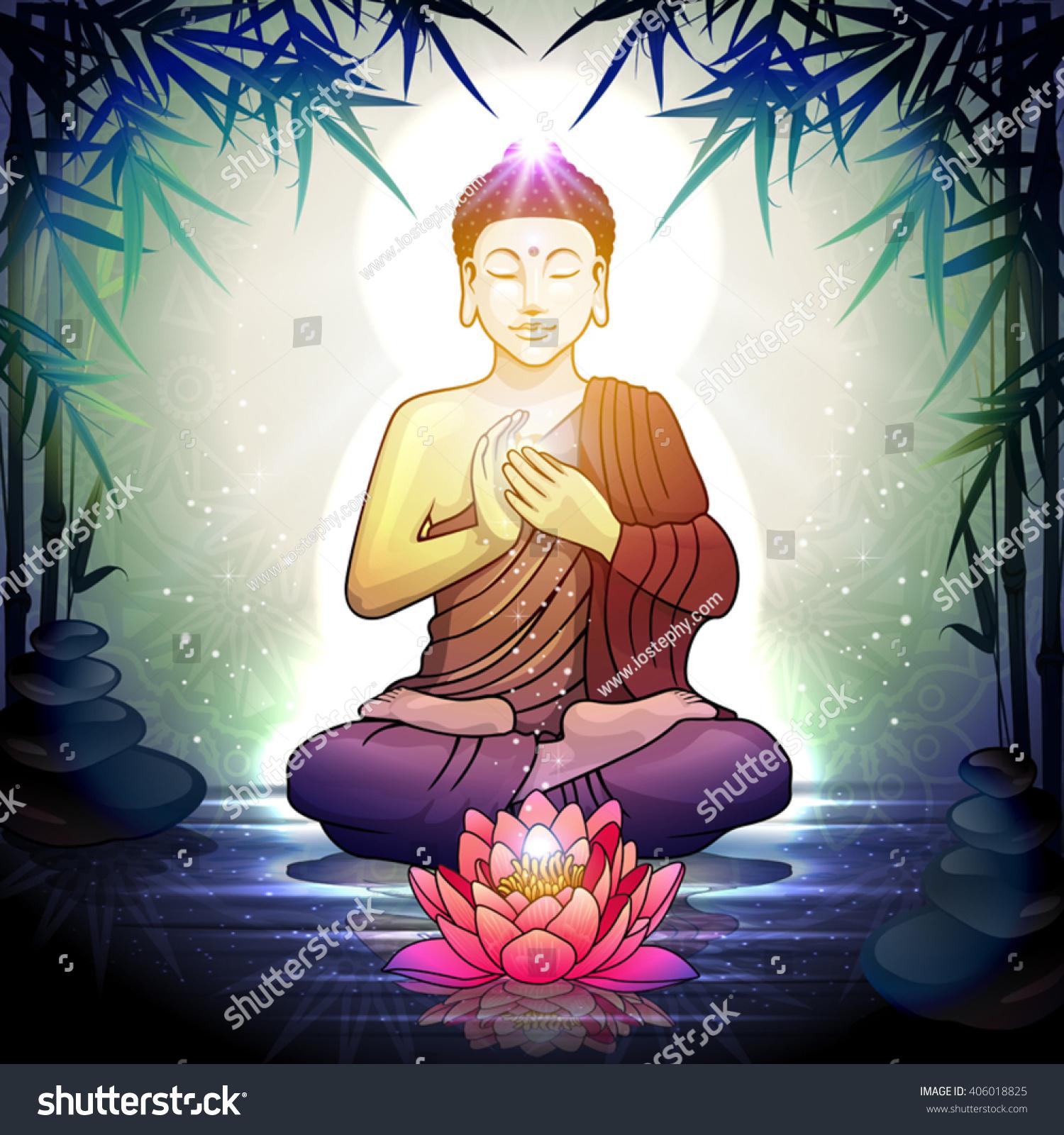 Buddha Meditation Lotus Flower Tranquil Zen Stock Vector Royalty
