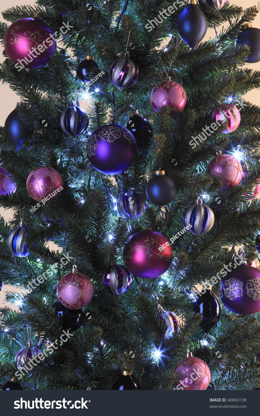 Christmas Tree Decorated Pink Purple Balls Stock Photo Edit Now