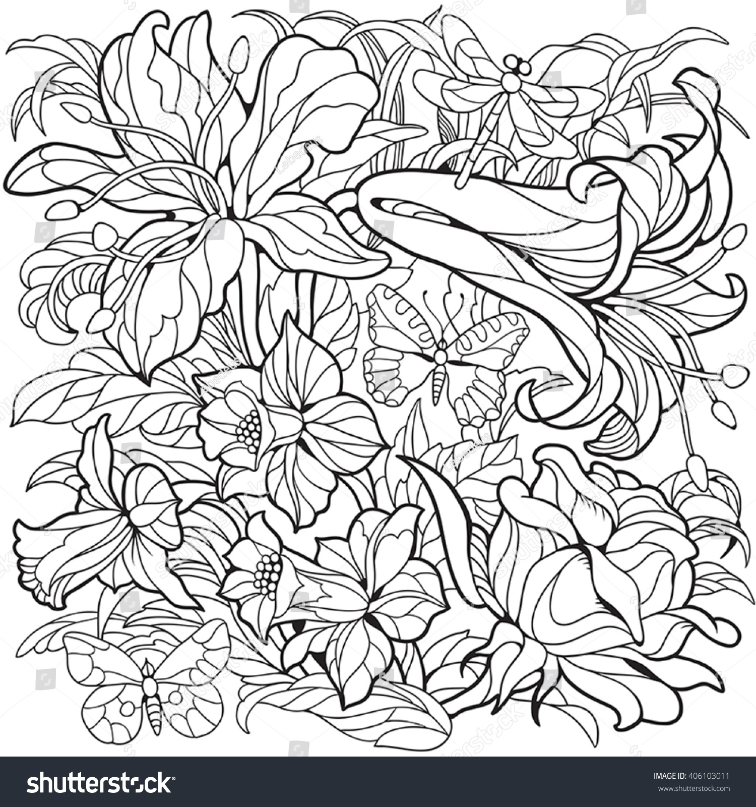 Floral Coloring Page Narcissus Flower Rose Stock Vector HD (Royalty ...