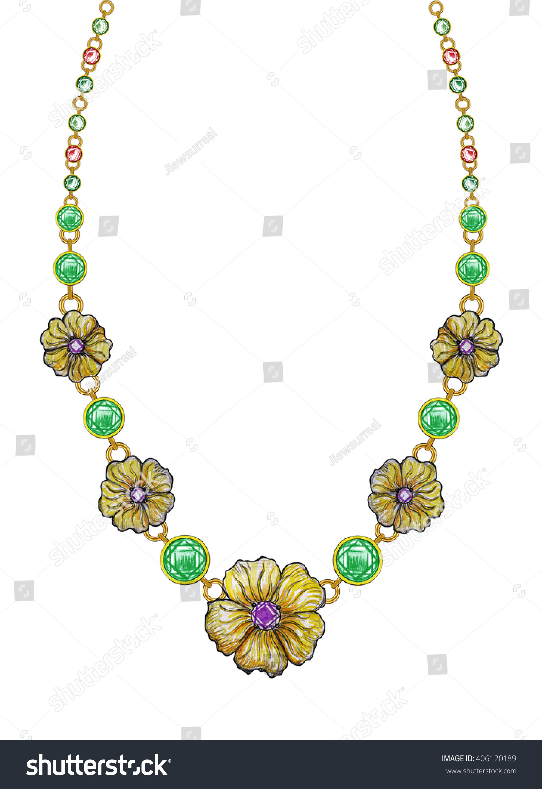 Jewelry Design Flowers Necklace Hand Pencil Stock ...