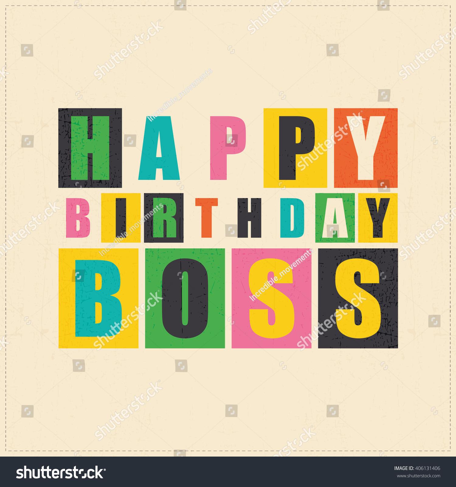 Happy Birthday Card. Happy Birthday Boss. Vector