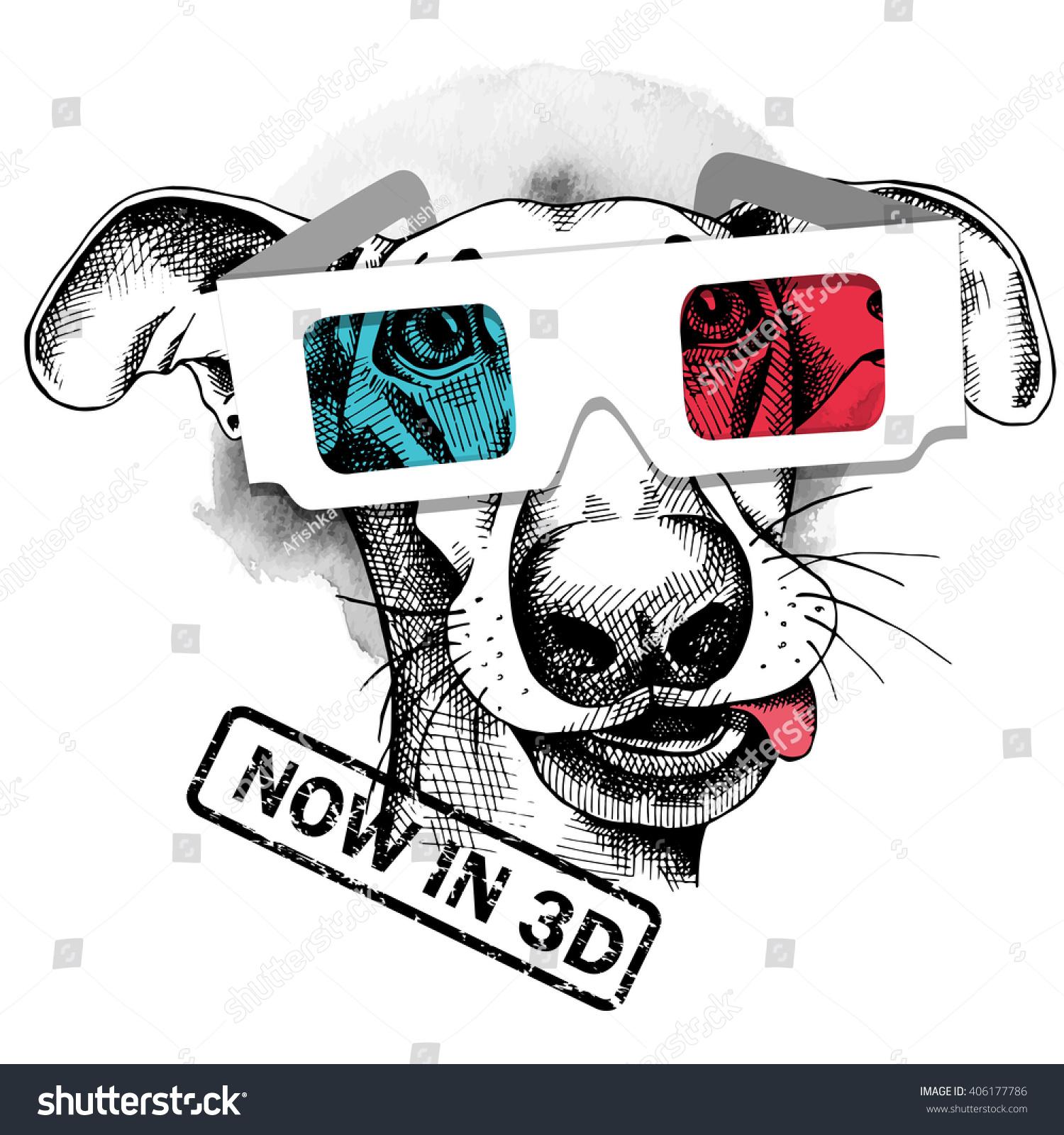 Dog Portrait 3d Glasses Vector Illustration Stock Vector ...