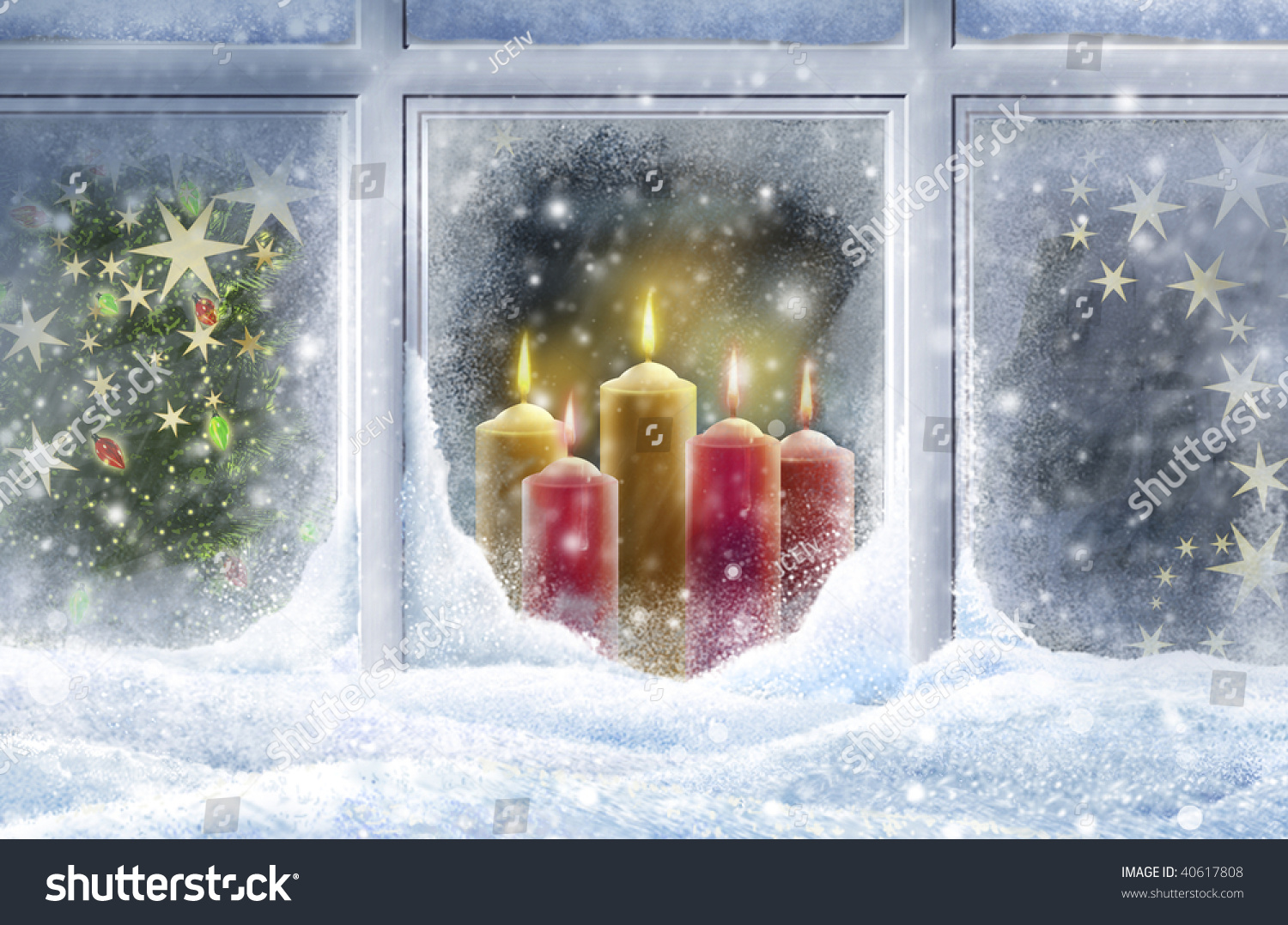 looking through snowy window candles stock illustration 40617808