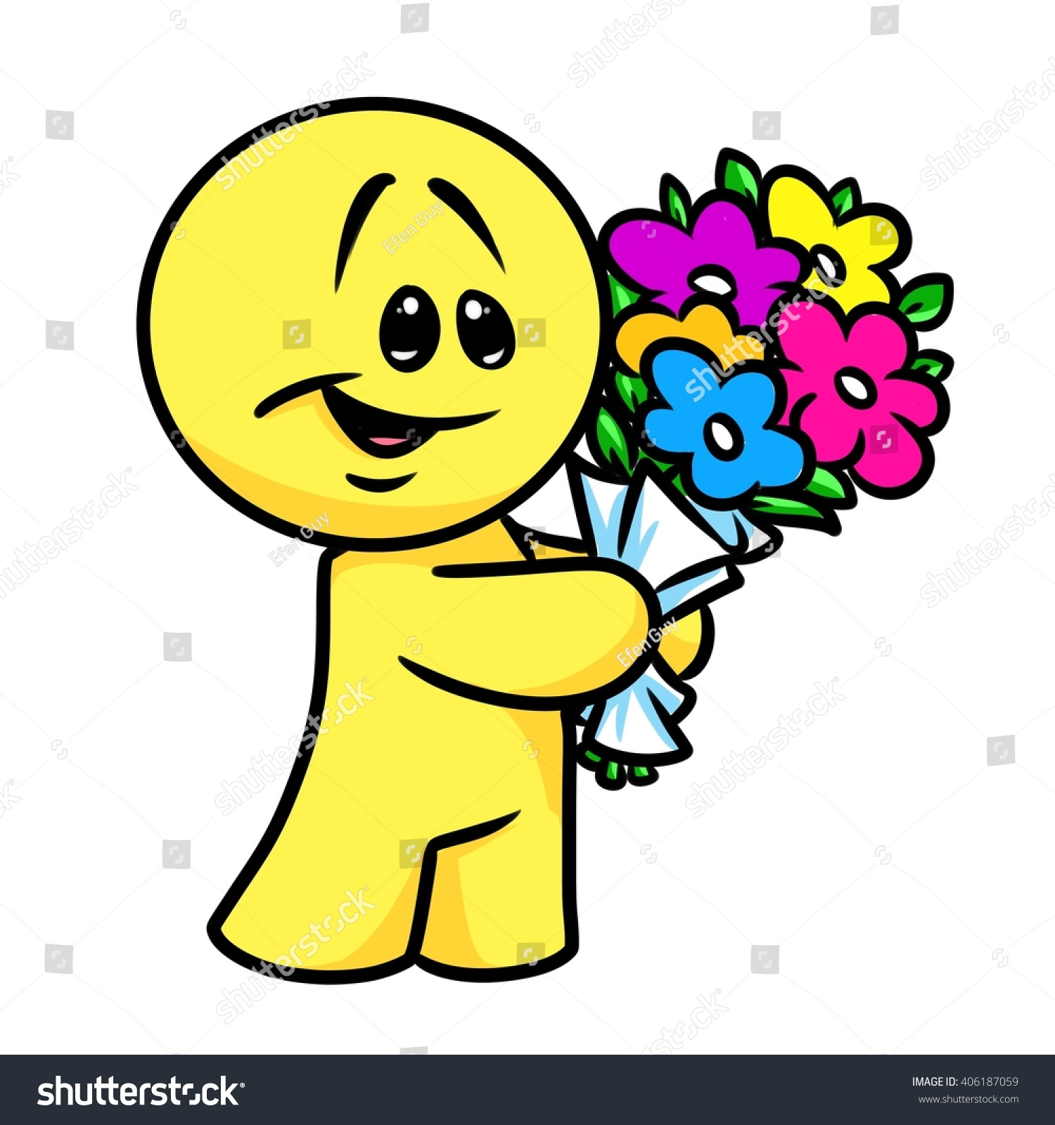 Smiley character bouquet flowers cartoon illustration stock smiley character bouquet flowers cartoon illustration isolated image izmirmasajfo