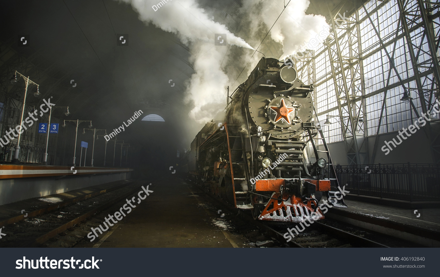 Steam Locomotive at the Kiev railway station in Moscow