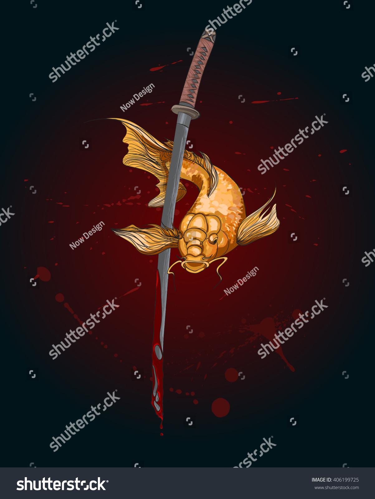 Koi Fish Katana Sword Tattoo Koi Stock Vector 406199725 - Shutterstock