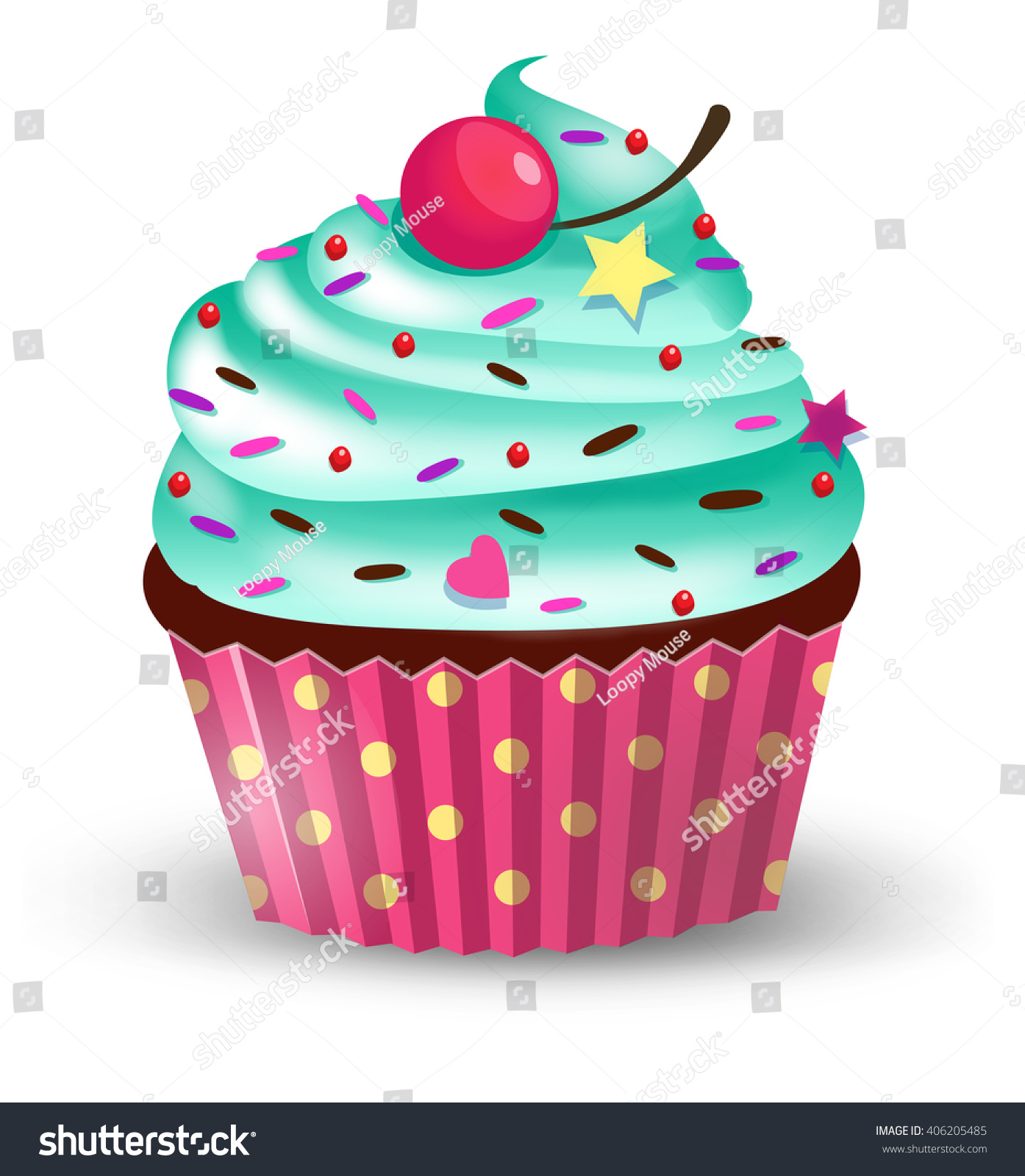 handmade cute cartoon cupcake cherry vector stock vector
