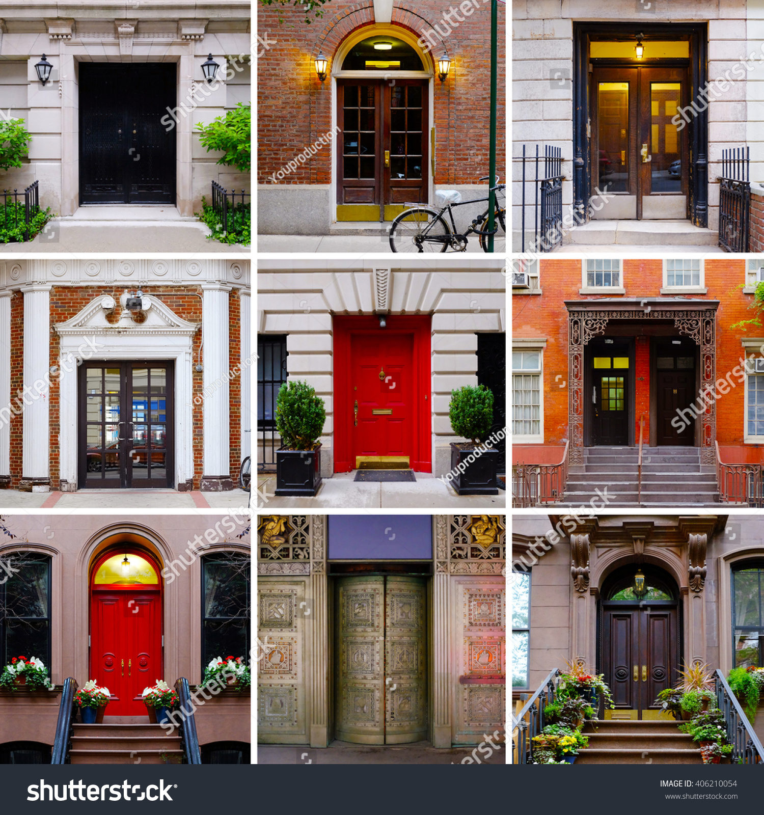 Photo collage colorful front doors manhattan stock photo 406210054 photo collage of colorful front doors to manhattan houses and homes collage of the new rubansaba
