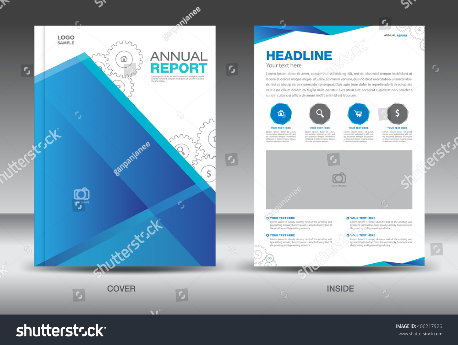 blue cover annual report brochure flyer template creative design blue cover annual report brochure flyer template creative design front and inside page layout