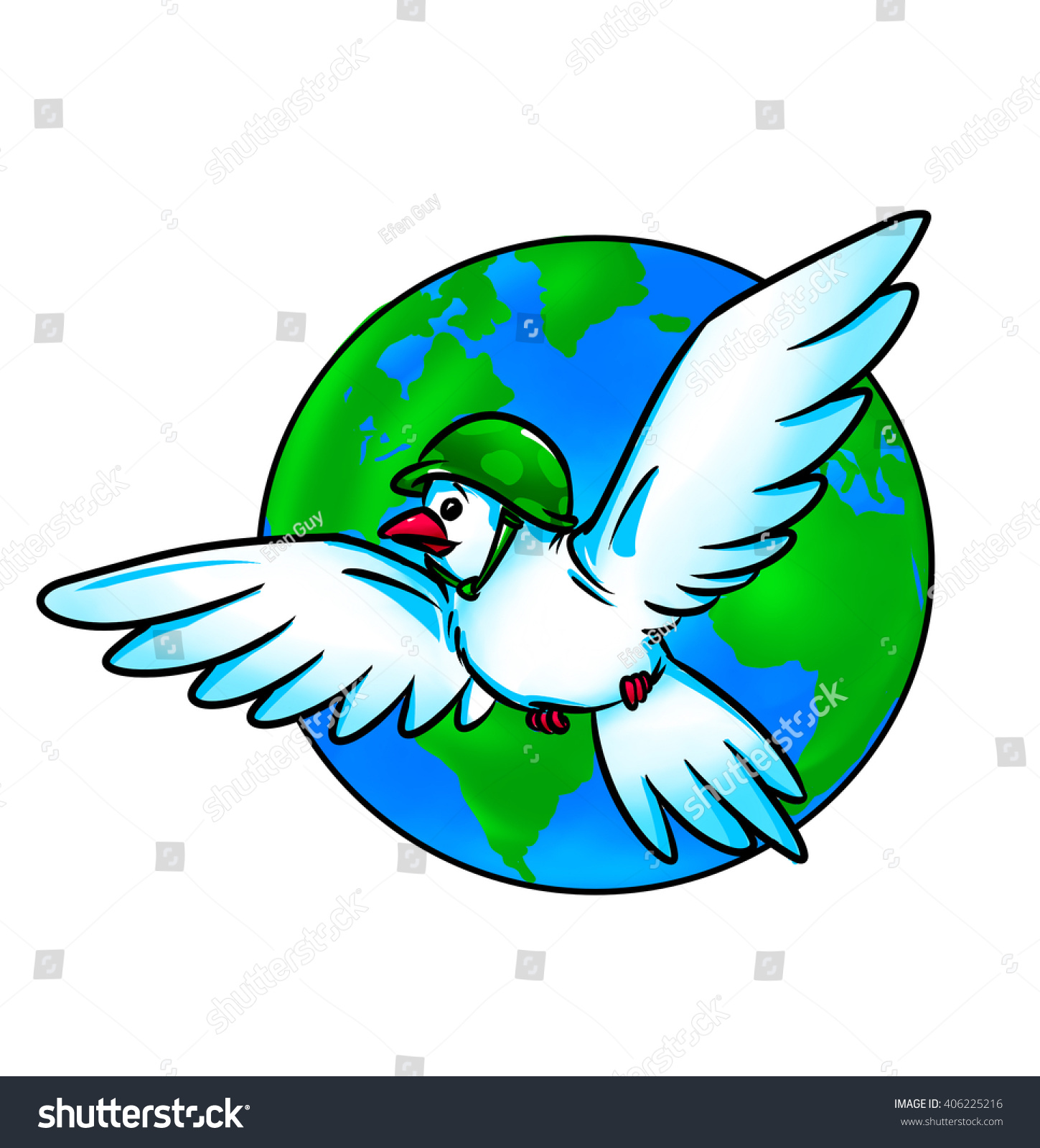 Dove World Planet Globe Cartoon Illustration Stock Illustration ...
