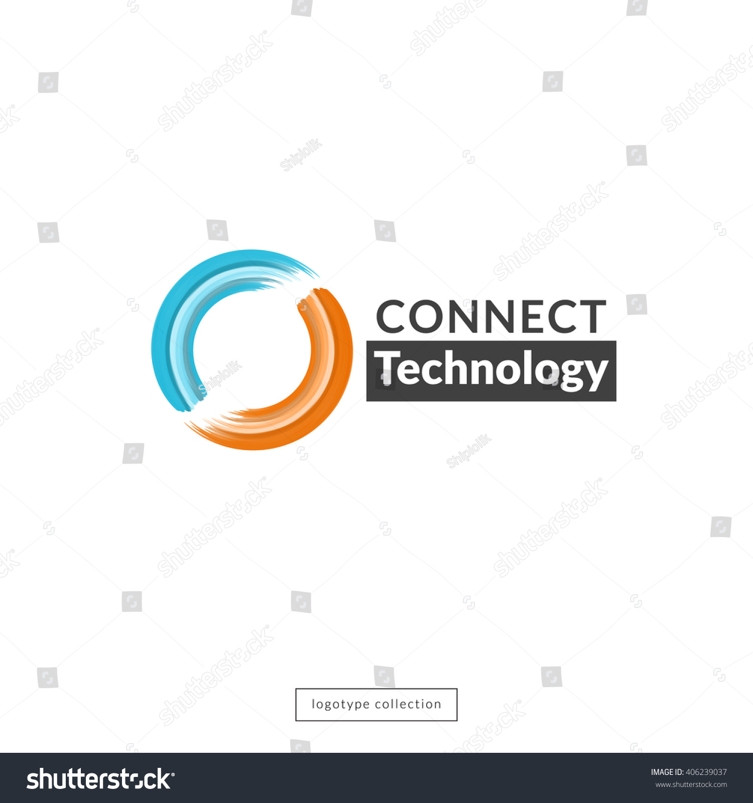 Connect Technology Logo Digital Unity Emblem Stock Vector