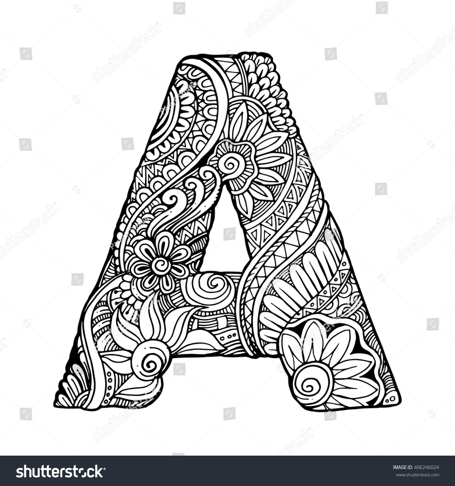 Zentangle Stylized Alphabet Letter A Vector Stock