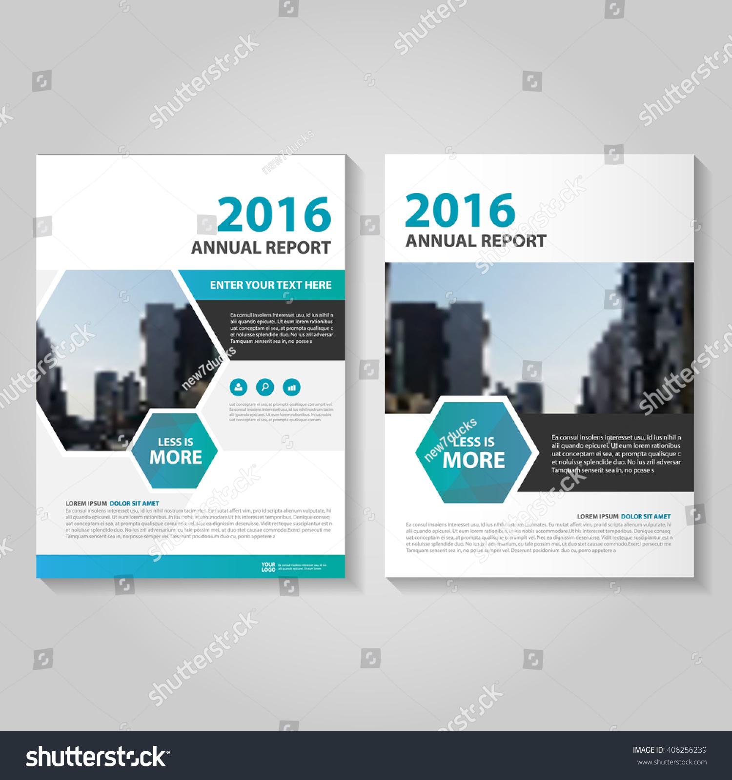 blue green hexagon vector annual report のベクター画像素材