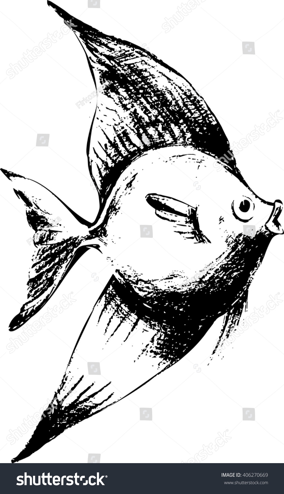Hand draw fish in black and white style fish drawing sketch style vector