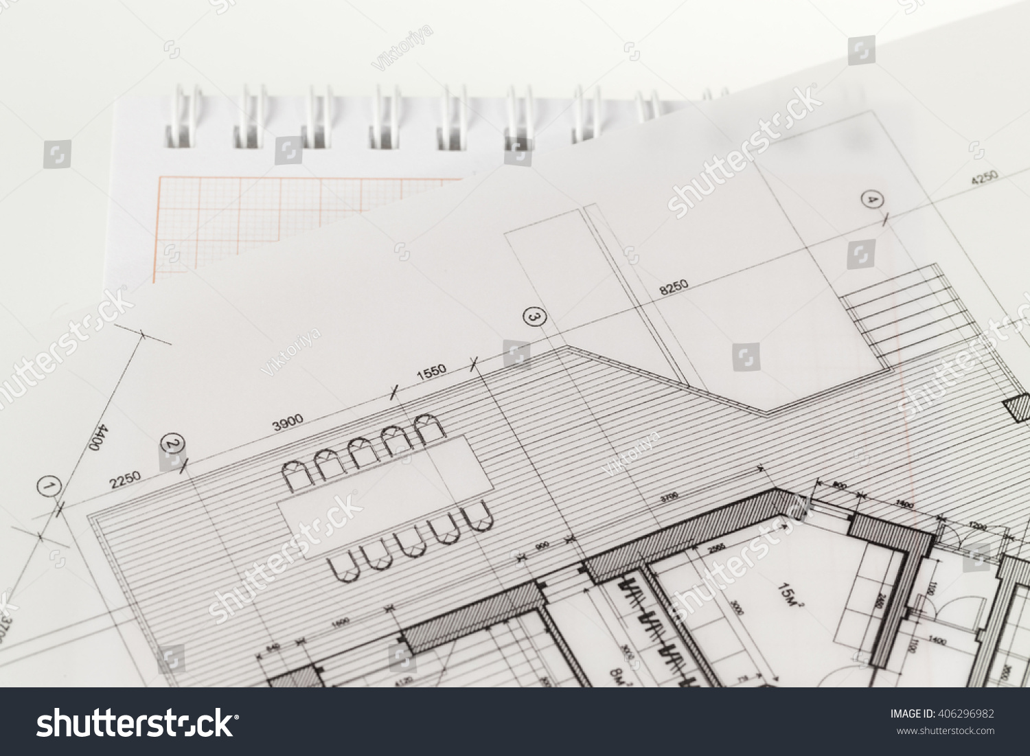 Architecture blueprint house plan notepad stock photo royalty free architecture blueprint house plan notepad stock photo royalty free 406296982 shutterstock malvernweather Image collections