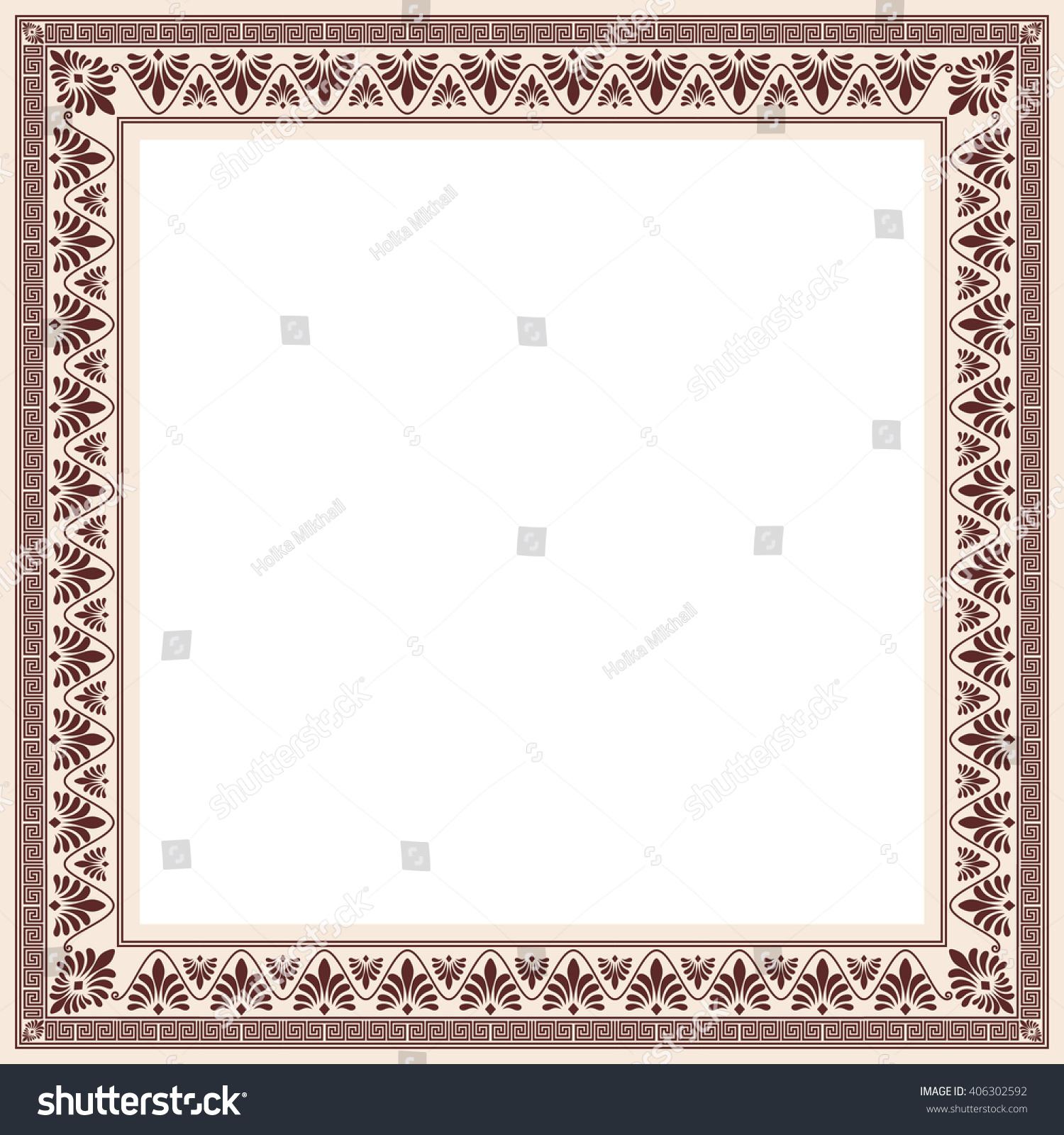 Greek style frame ornament brown pattern stock vector 406302592 greek style frame ornament brown pattern on a beige background jeuxipadfo Gallery