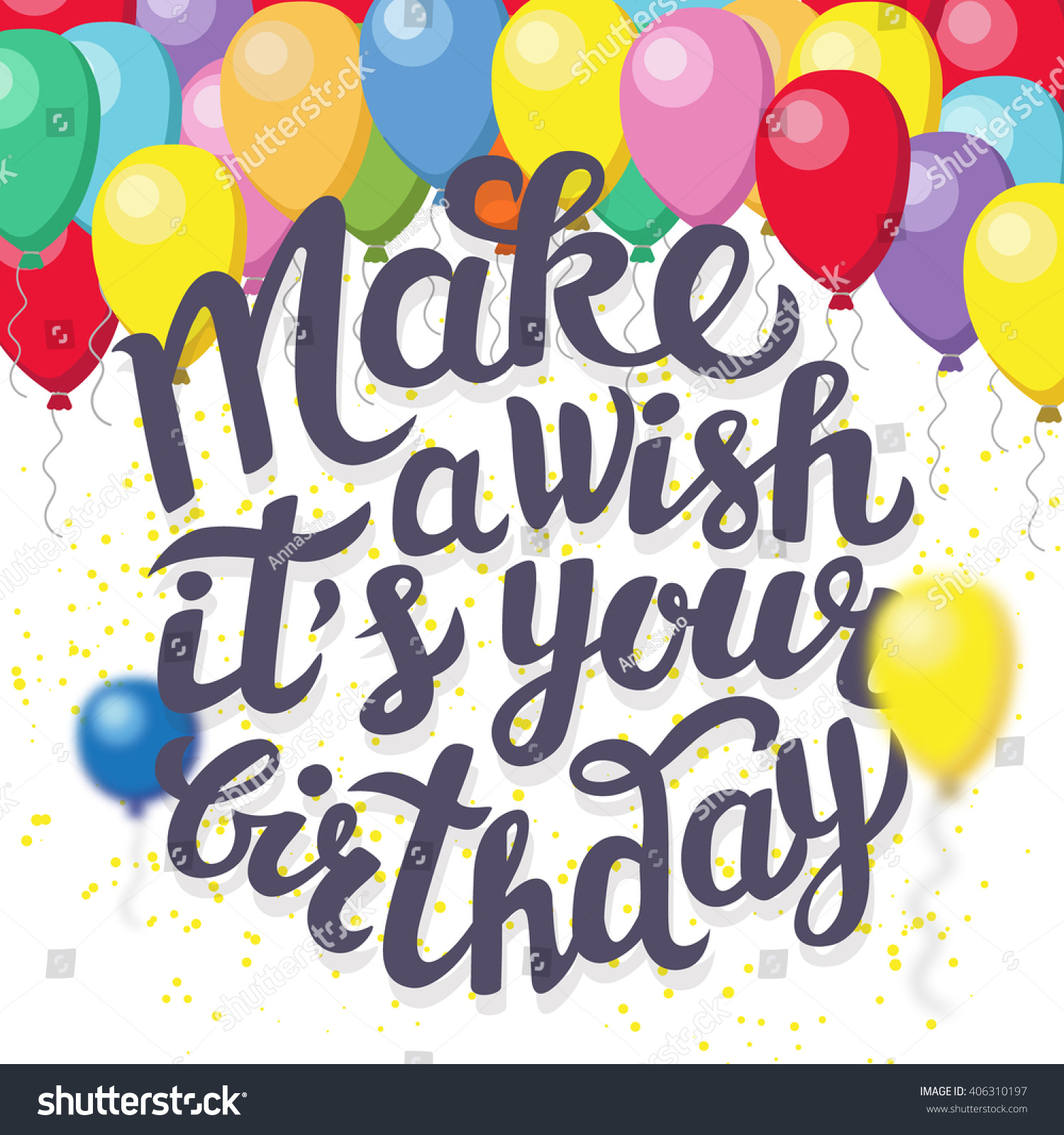Happy Birthday Greeting Poster With Lettering Make A Happy Birthday Make A Wish