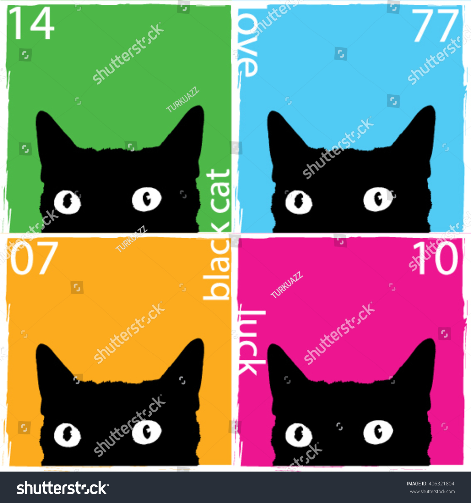 black cat pop art illustration print stock vector royalty free