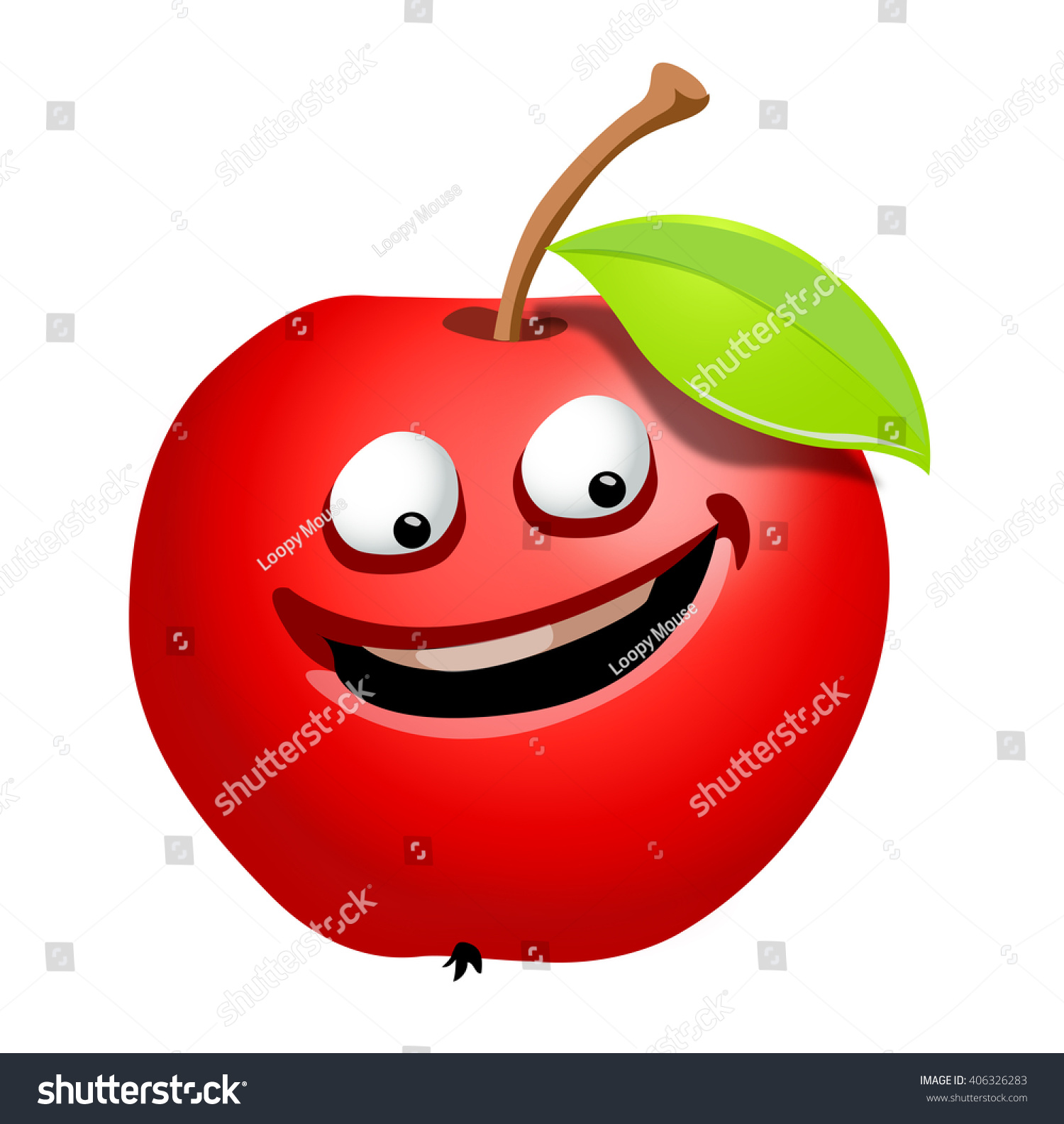 apple fruit clip art. vector ripe apple fruit cartoon character, on a white background. clip art, isolated art