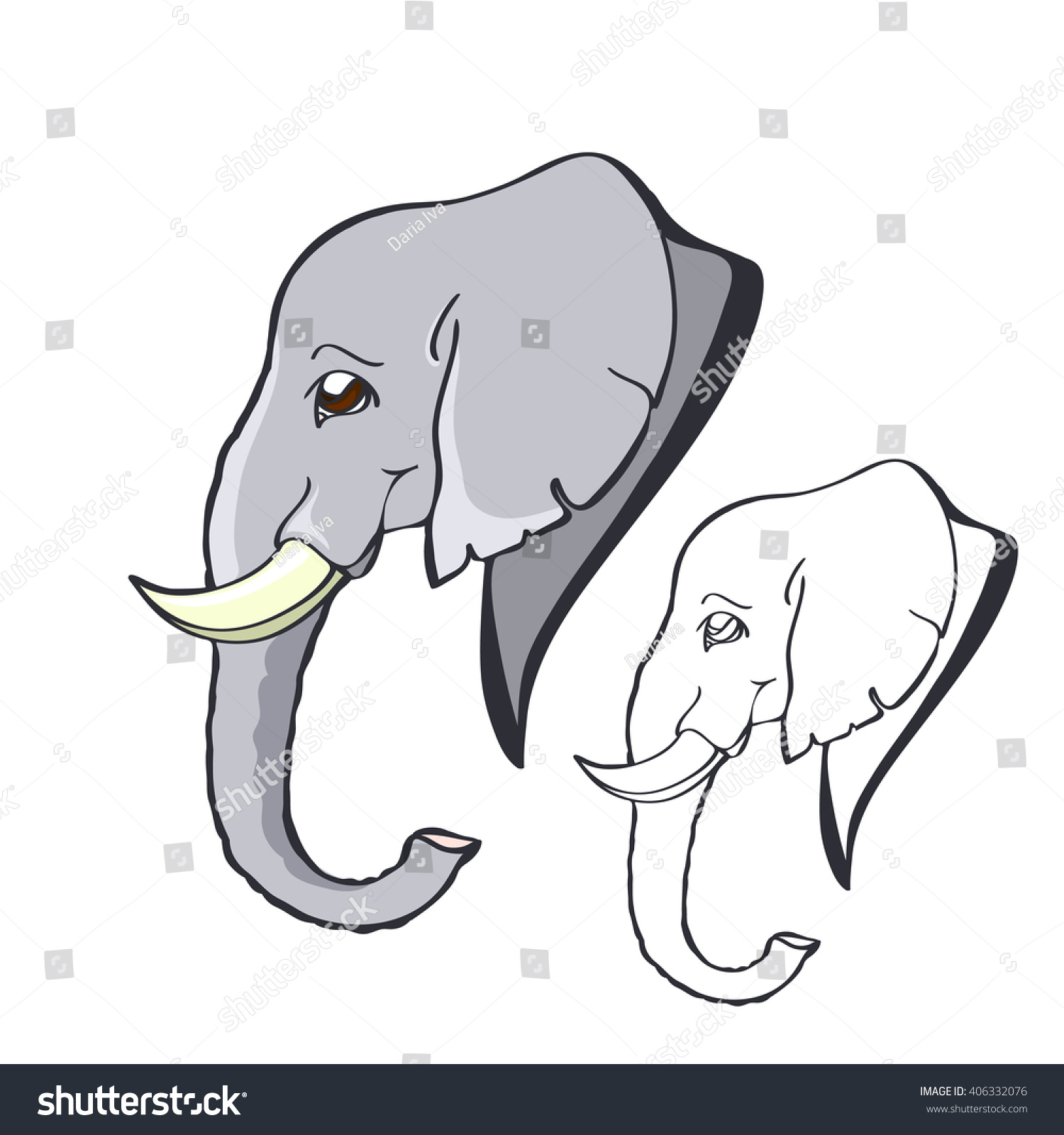 Portrait Smiling Good Elephant Small Tusks Stock Vector 406332076 ...