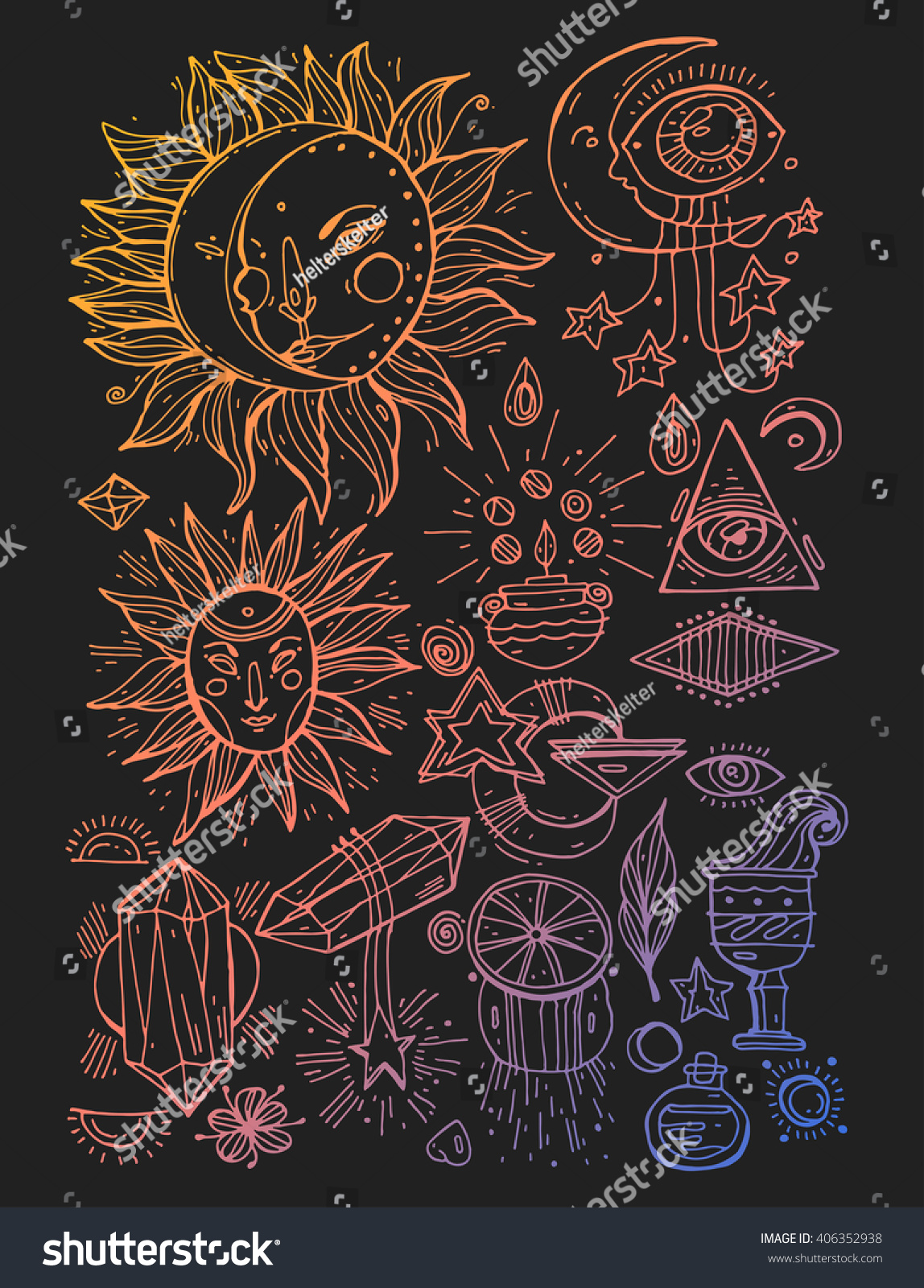 Set trendy hand draw vector alchemy stock vector 406352938 set of trendy hand draw vector alchemy symbols collection on black background religion philosophy biocorpaavc Images