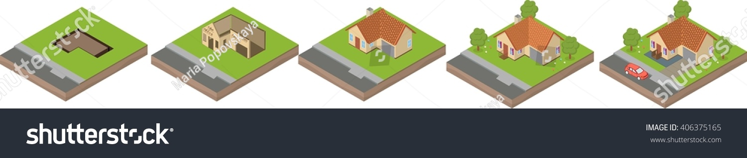 House Building Process Isometric Illustration House Stock
