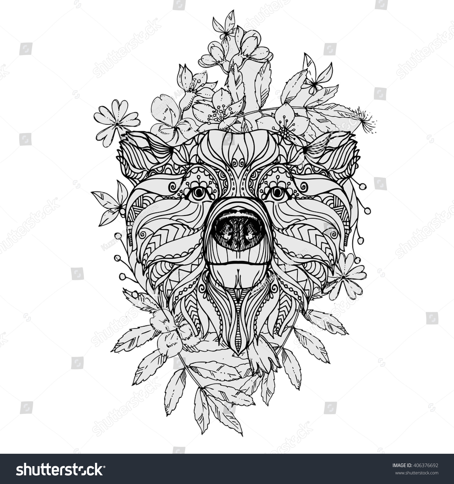 hand drawn ink doodle bear flowers stock vector 406376692