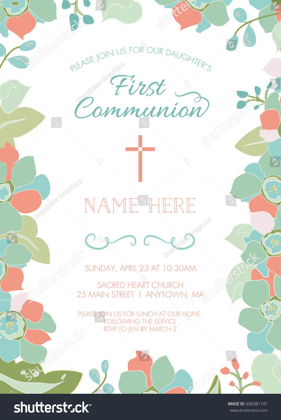 First Communion Baptism Christening Invitation Card Vector – Christening Invitation Cards Templates