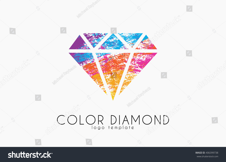 diamond logo color diamond symbol elegant stock vector