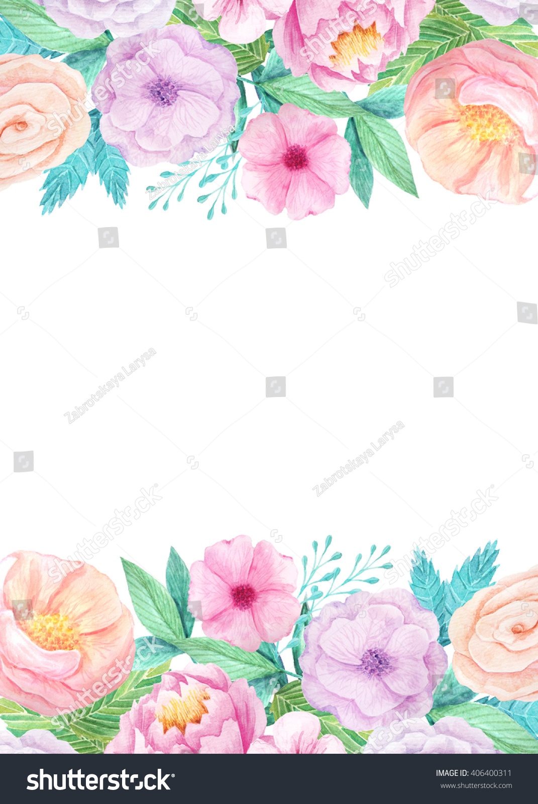 wedding invitation template with hand painted watercolor