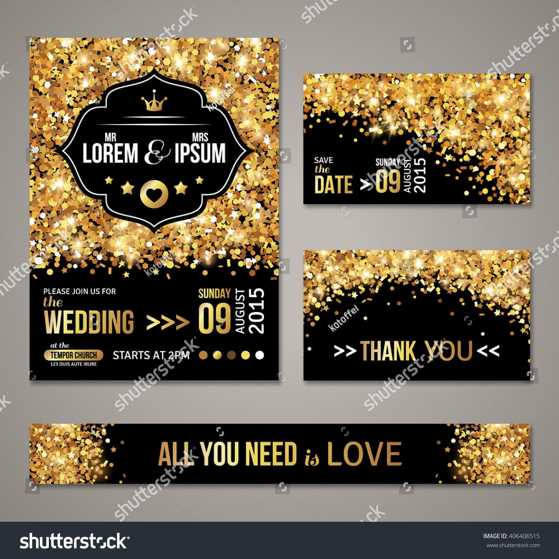 Set Wedding Invitation Cards Design Gold Stock Vector (Royalty Free)  406406515