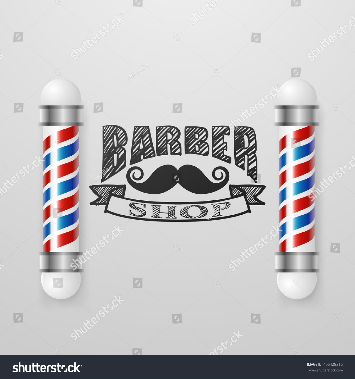 Old Fashioned Vintage Barber Shop Silver Pole Design Template Face With Mustaches