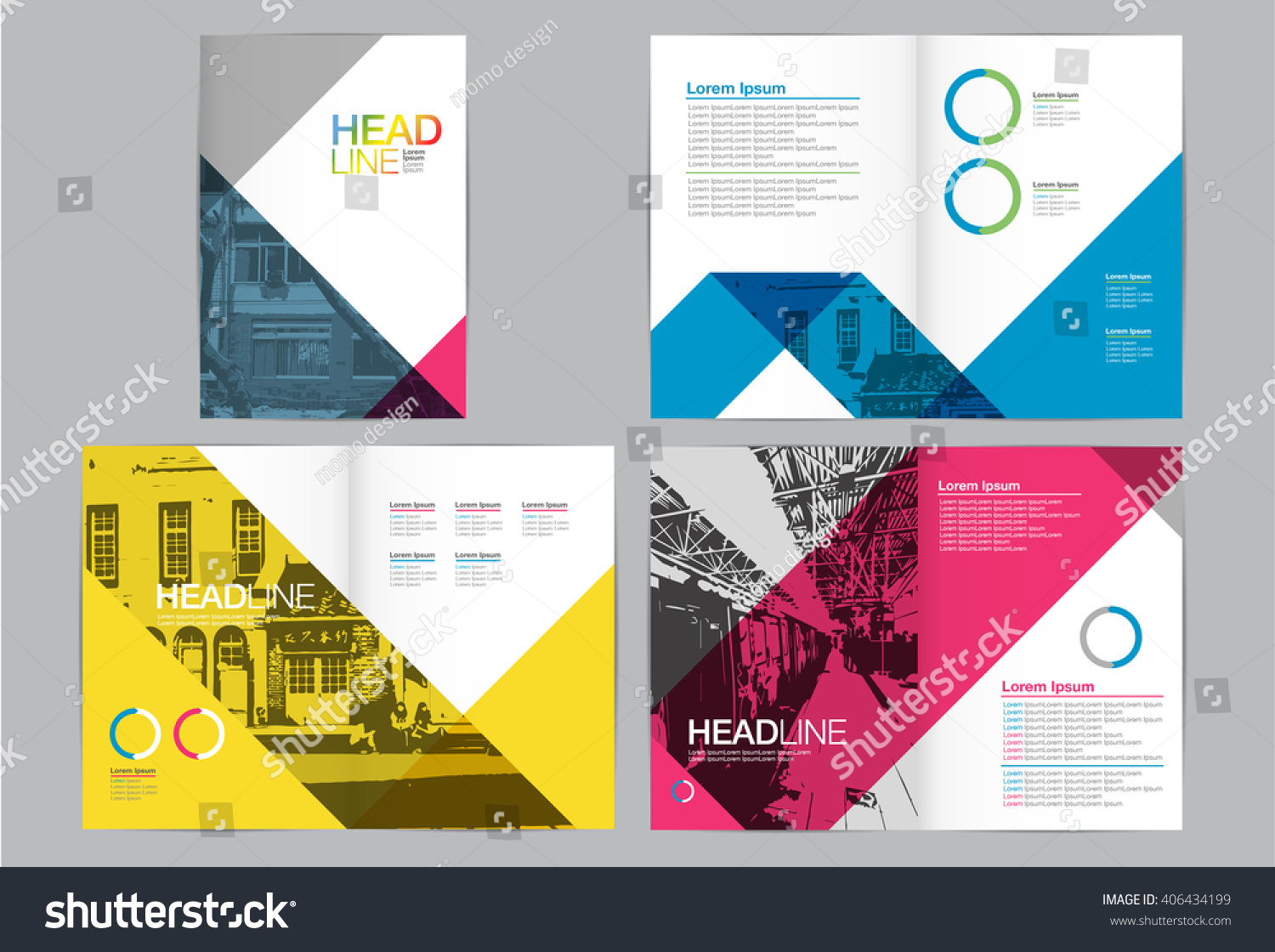 brochure modern design - template design layout brochure geometric abstract stock