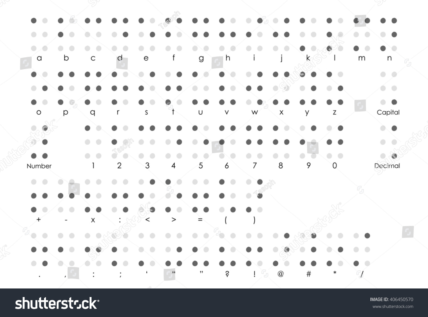 Royalty free braille alphabet with braille numbers 406450570 braille alphabet with braille numbers braille punctuation and braille symbols fonts and code buycottarizona Choice Image
