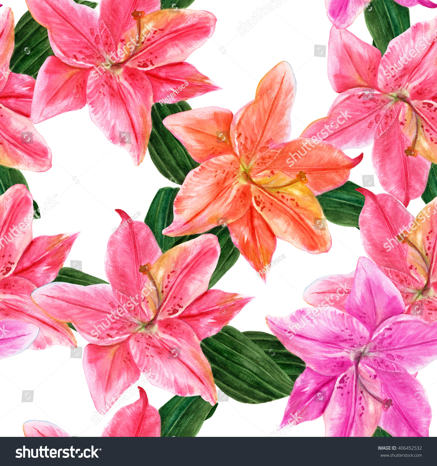 Watercolor set of rose lily flowers with leaves ez canvas izmirmasajfo